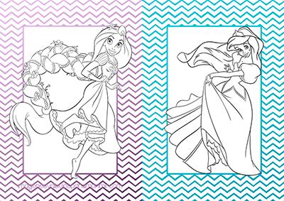 Imprimir y colorear princesas disney rapunzel y ariel