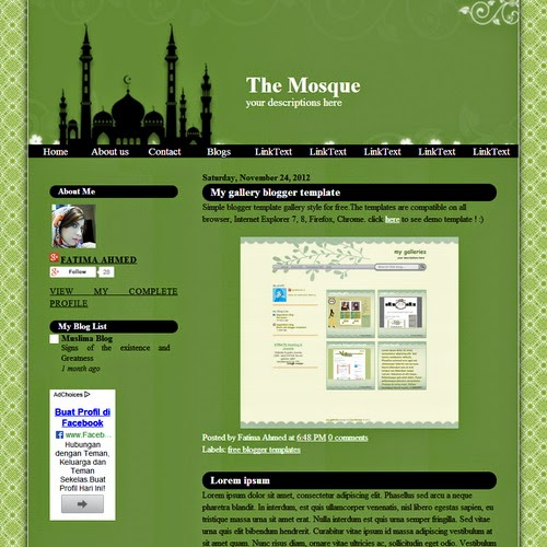 The Mosque Islamic Blogger Template
