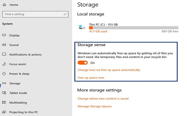 Apa Fungsi Storage Sense Pada Windows 10 October 2018 Update?