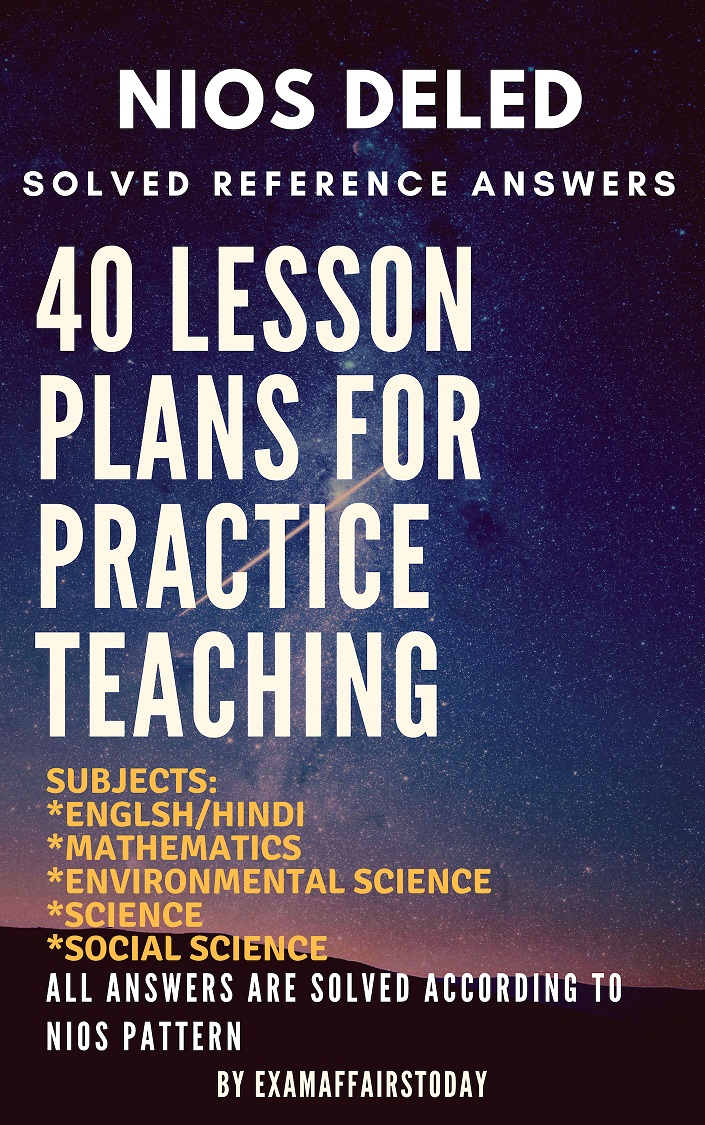 NIOS DELED Lesson Plans For Practice Teaching 514 PDF Download