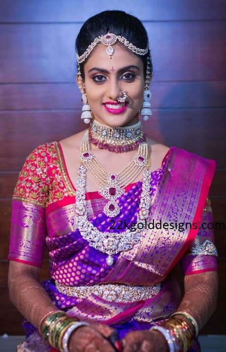 South Indian Bride in Complete Diamond Jewellery