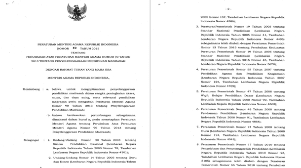 PMA Nomor 60 Tahun 2015 Tentang Perubahan atas Peraturan Menteri Agama Nomor 90 Tahun 2013 Tentang Penyelenggaraan Pendidikan Madrasah