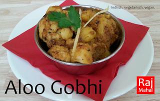 Aloo Gobhi: in Öl ausgebackene Blumenkohlstücke und Kartoffeln in Zwiebeln angebraten