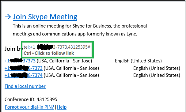 Dialing in to Skype for Business Conference Call with single