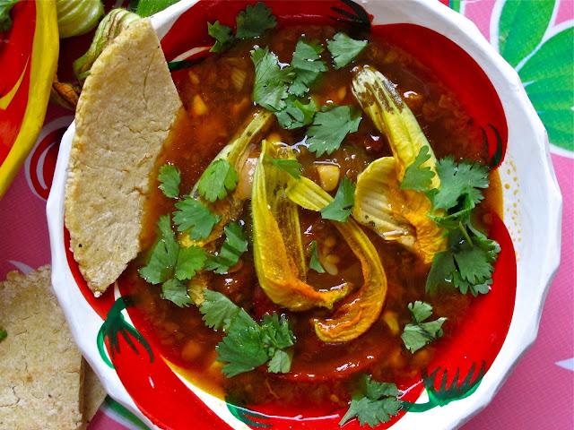 squash flower soup