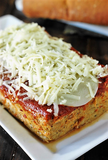 Chicken Parmesan Meatloaf with Mozzarella Cheese on Top image