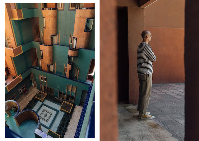 walden7 apartment block in barcelona designed by Ricardo Bofill, Joseph menswear spring summer 2019 collection