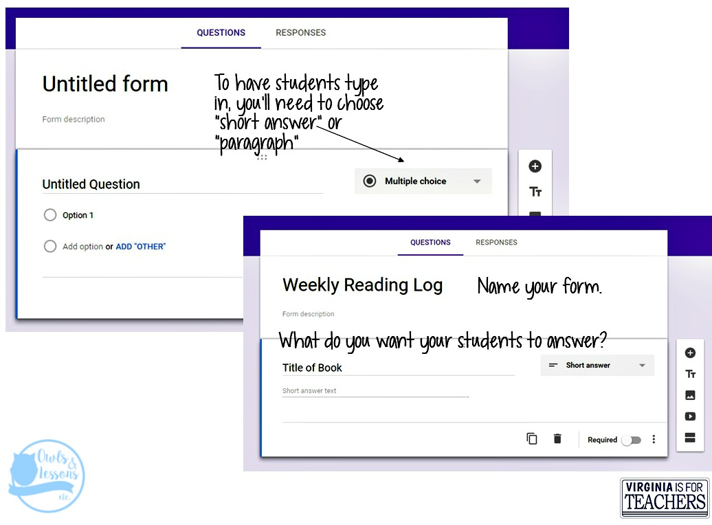 alternative reading logs, google forms