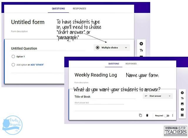 alternative reading logs, google forms
