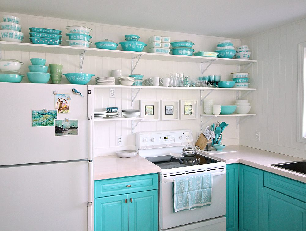 Turquoise Kitchen with Aqua Pyrex Collection