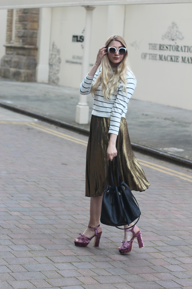 metallic midi skirt trend fashion