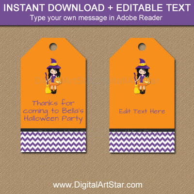 Printable kids Halloween Gift Tags