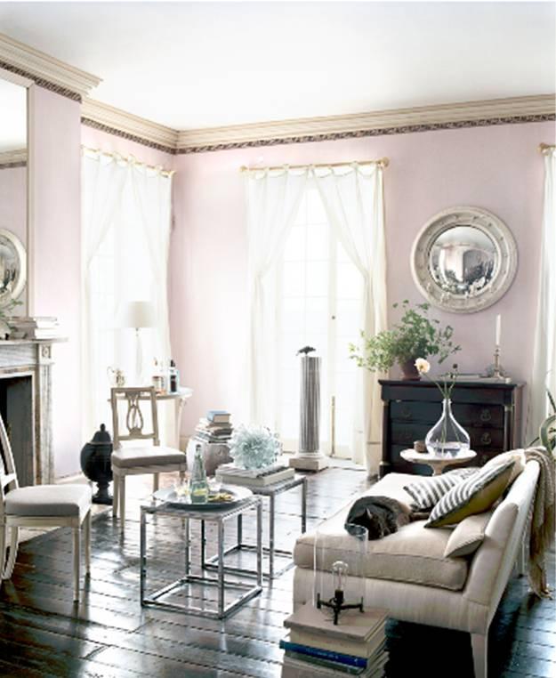 Hardwood Floors Living Room: Living Room With Lavender Walls, Dark Wood Floor, Mercury