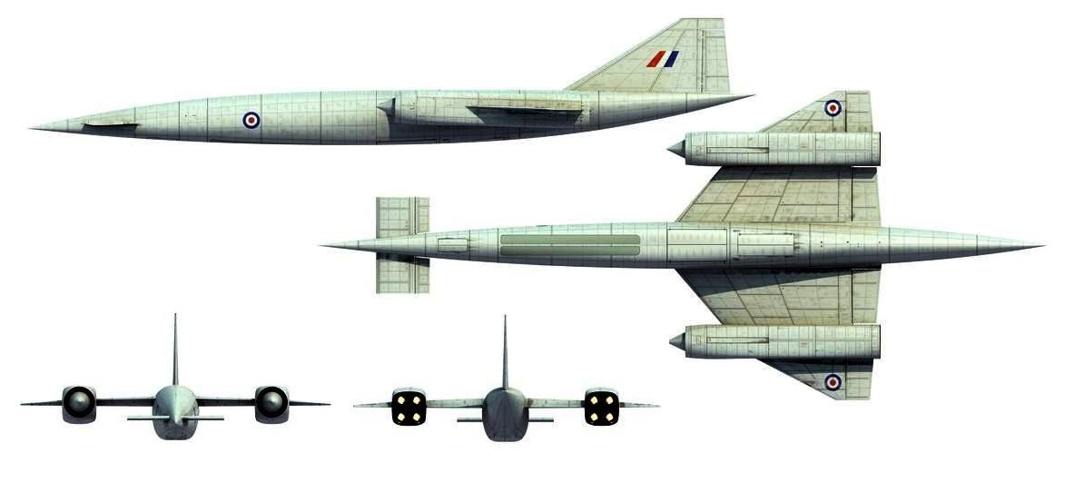O Avro 730, de quatro turbojatos, lembrava um pouco o SR-71.