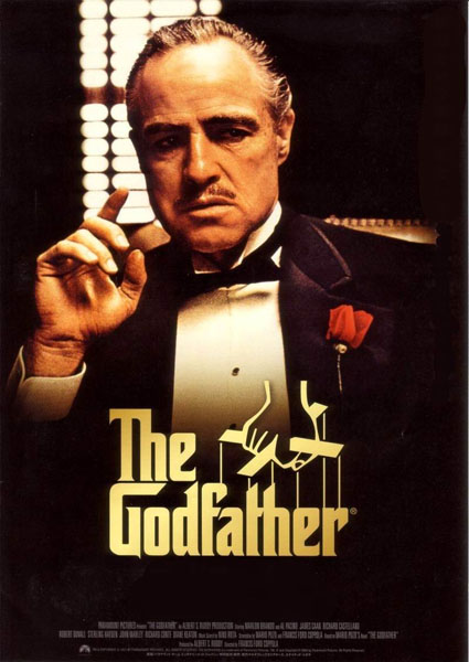 The Godfather, Movie Poster, Directed by Francis Ford Coppola, starring Marlon Brando, Al Pacino, Diane Keaton, Robert Duvall