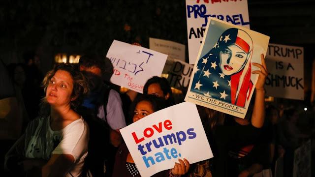 Donald Trump es recibido con protestas en los territorios ocupados