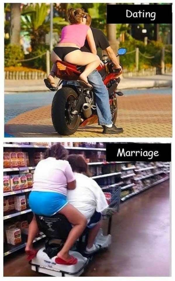 Funny Picture Dating vs Marriage Motorbike Ride