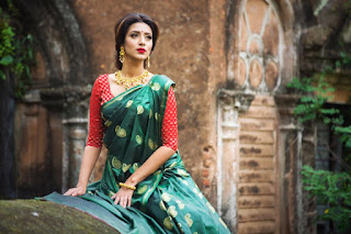 Bidya Sinha Saha Mim In Sexy Green Saree