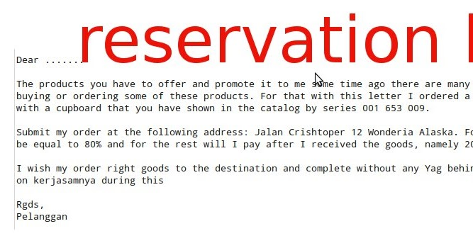 reservation letters examples ~ samples business letters