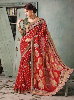 Traditional-indian-banarasi-silk-saree-new-styles-for-girls-9