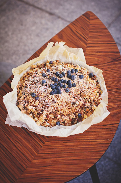 Apple Cinnamon Coffee Cake - Topped with blueberries
