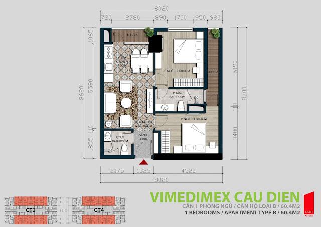 Thiết kế căn hộ B - 60,4m2