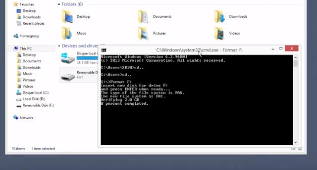 الطريقة الصحيحة لعمل فورمات للفلاشة مصاب لا تقبل الفورمات بدون برنامج عن طريق CMD