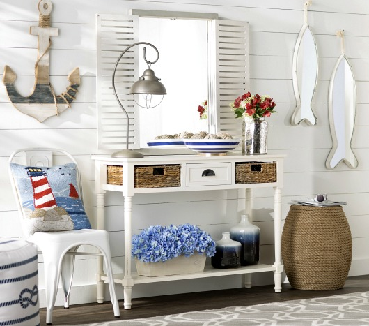 White Console Table with Basket Storage