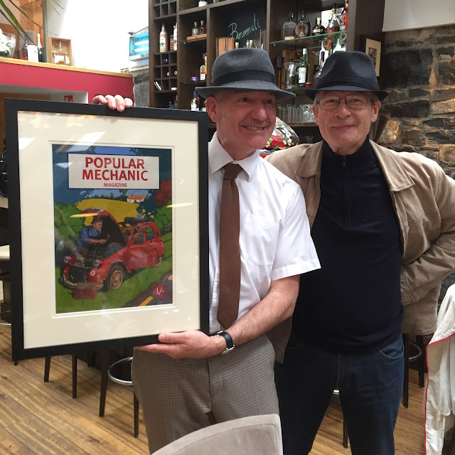 A presentation artwork in acrylics on paper, framed and presented to M. Philippe Milloux, director of the Alliance française, Dublin
