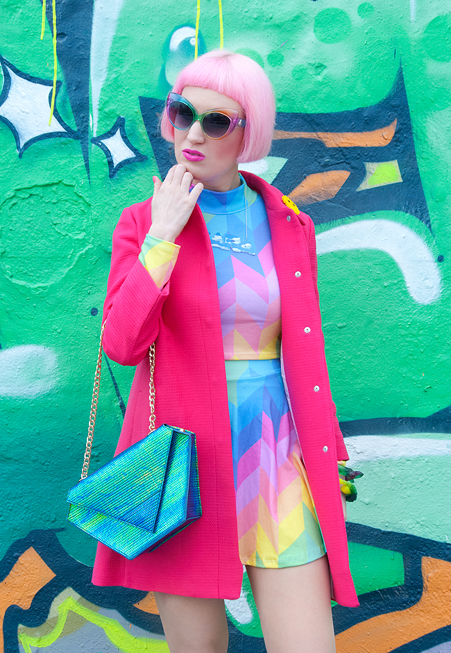 Iridescent bag, pink spring coat, rainbow co-ord