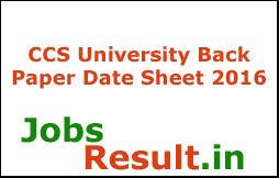 CCS University Back Paper Date Sheet 2016