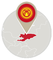 Kyrgyzstani flag and map