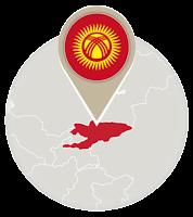 Kyrgyzstani flag and map