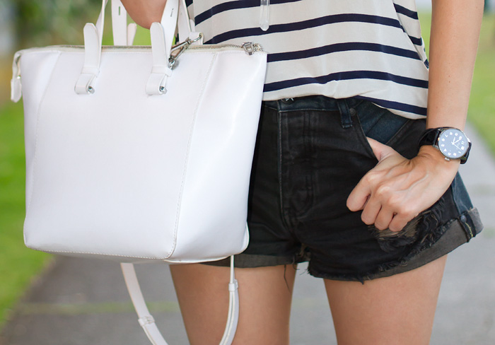 Vancouver Fashion Blogger, Alison Hutchinson is wearing a Joe Fresh striped tank top, One Teaspoon Hawks Cutoffs, Guess blue ankle strap heels. Zara white leather bag,  and Aritzia black ball cap