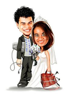caricatura de noivos ti