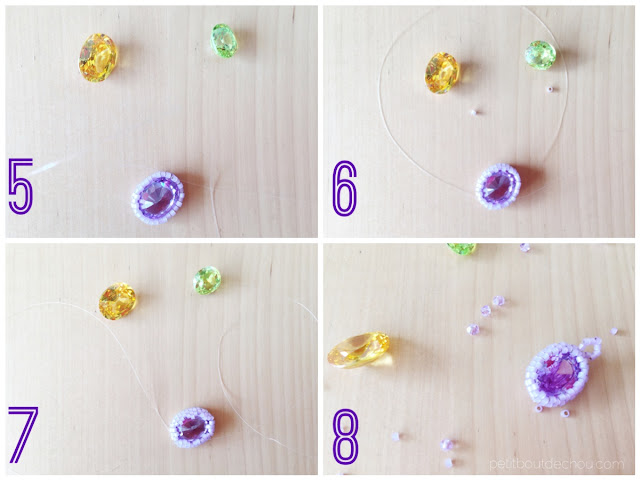Gem stone bezel with seed beads steps 5 to 8