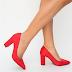 Pantofi rosii de zi cu toc gros piele intoarsa sub 100 de lei