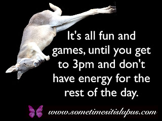 Image: sleeping kangaroo.  Text: It's all fun and games, until you get to 3pm and don't have energy for the rest of the day.