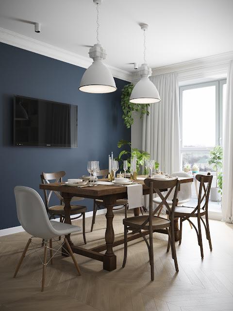 sufragerie cu perete albastru si masa de lemn
