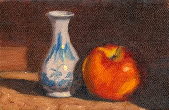 Oil painting of a miniature blue and white onion-shaped vase beside a yellow and red nectarine.