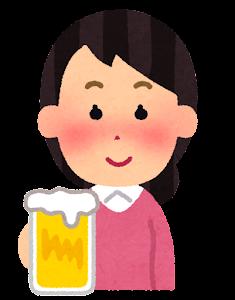 酔っぱらいのイラスト(女性・笑顔)
