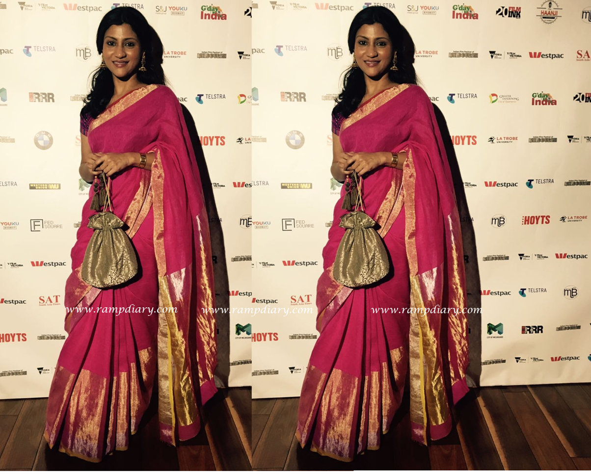 Konkona Sen Sharma was seen wearing an Anavila saree for the Indian Film Festival at Melbourne