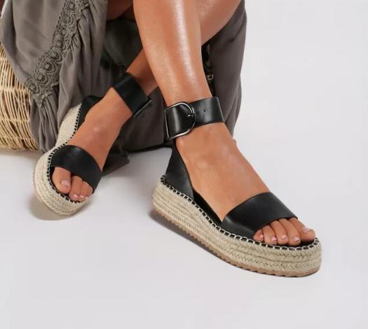 Sandale dama moderne negre de vara cu talpa groasa si barete late
