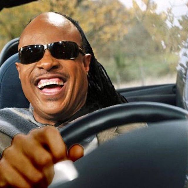 Funny Stevie Wonder Driving a Car Picture