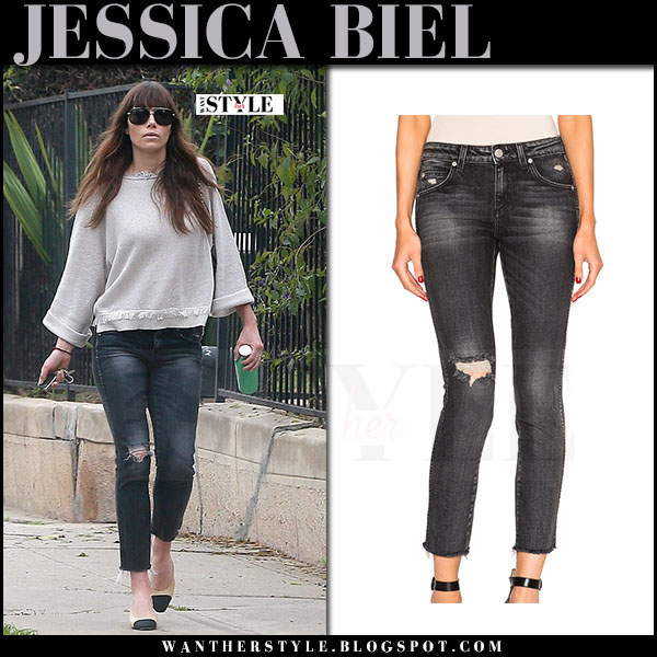 Jessica Biel in grey ripped amo stix jeans and Chanel contrast toe pumps what she wore march 2017