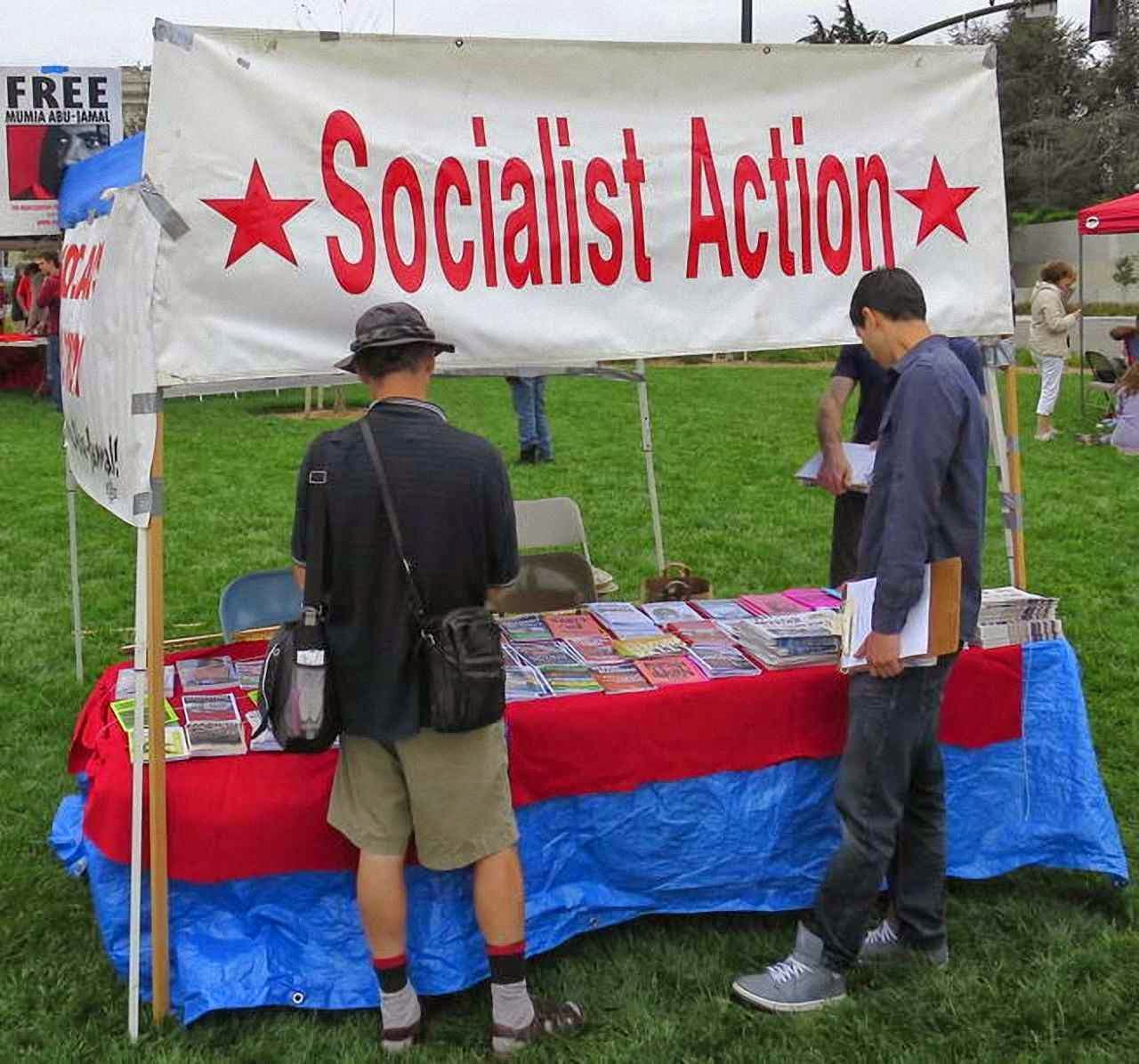 Militantismo socialista ostensivo na People's Climate Rally, Oakland, Califórnia.