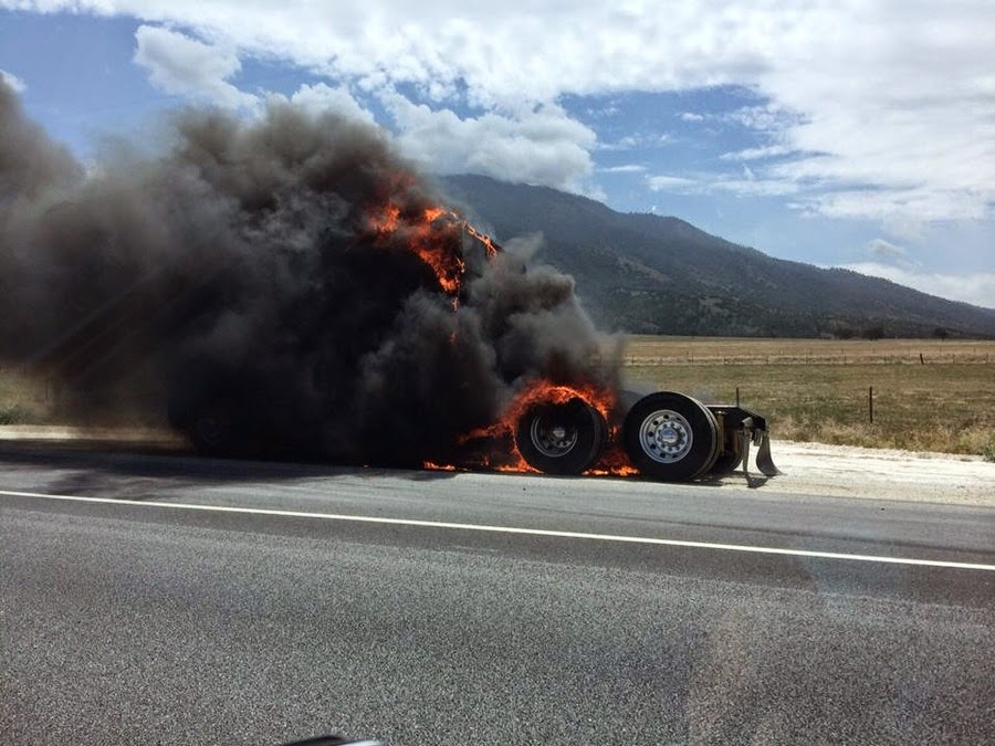 semi truck big rig accident fire kern county highway 58 bakersfield crash