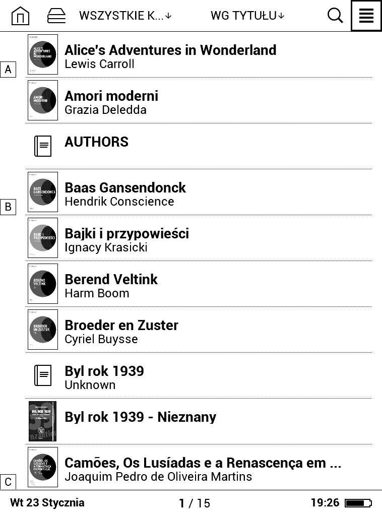 Biblioteka wPocketBook Basic Lux - widok listy uproszczony