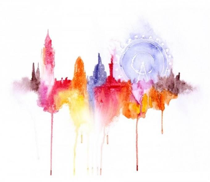 watercolor cityscape london