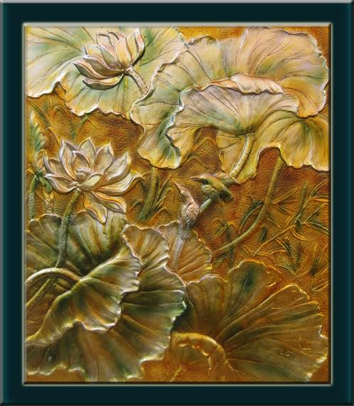 Phù điêu sen - Những bức tranh phù điêu đẹp